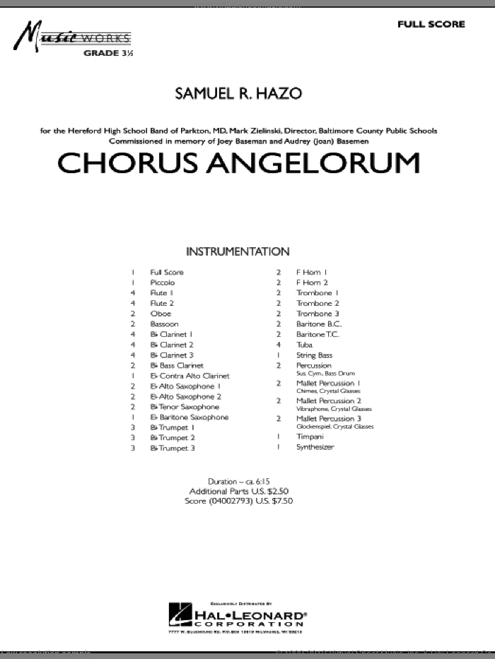Chorus Angelorum (COMPLETE) sheet music for concert band by Samuel R. Hazo, intermediate. Score Image Preview.
