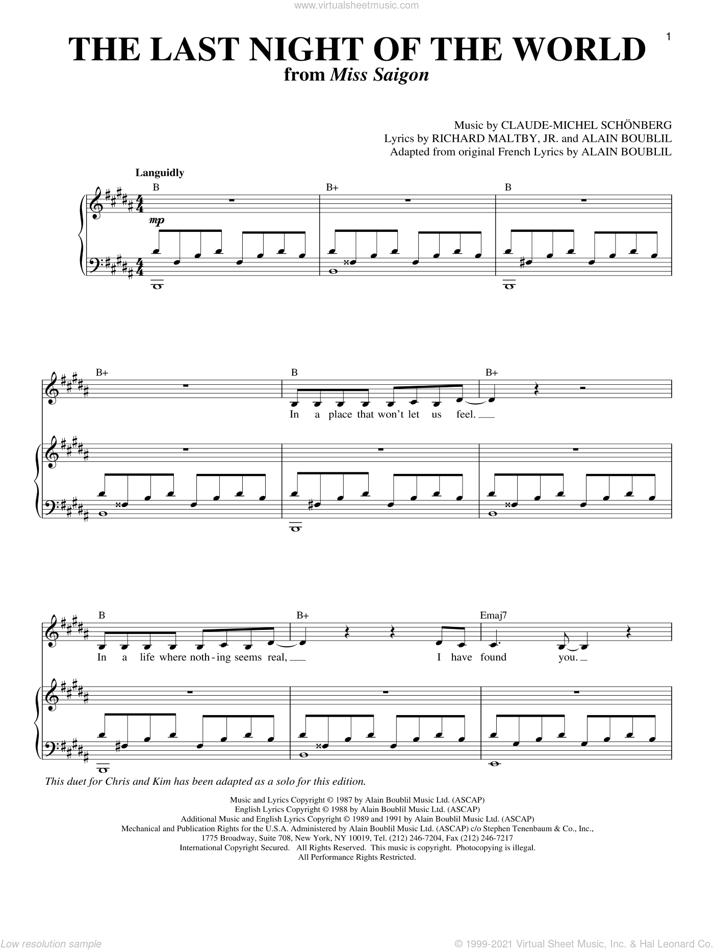 The Last Night Of The World (from Miss Saigon) sheet music for voice and piano by Claude-Michel Schonberg, Miss Saigon (Musical), Alain Boublil, Michel LeGrand and Richard Maltby, Jr., intermediate skill level