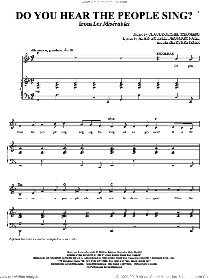Do You Hear The People Sing? sheet music for voice and piano by Alain Boublil, Boublil and Schonberg, Les Miserables (Musical), Claude-Michel Schonberg, Herbert Kretzmer, Jean-Marc Natel and Michel LeGrand, intermediate skill level