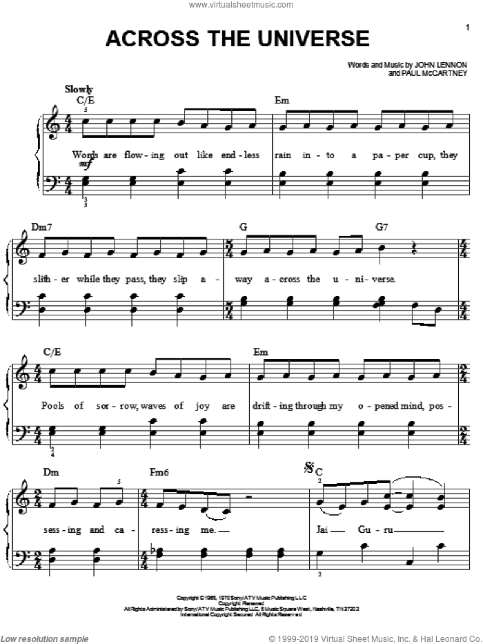 Across The Universe sheet music for piano solo by Paul McCartney, The Beatles and John Lennon. Score Image Preview.