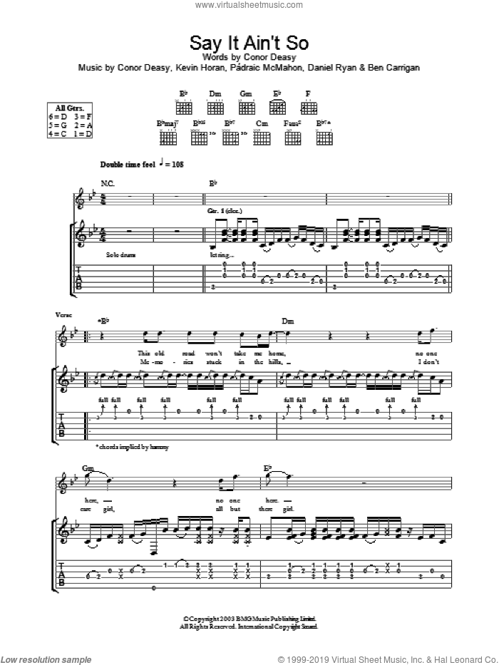 Say It Ain't So sheet music for guitar (tablature) by The Thrills
