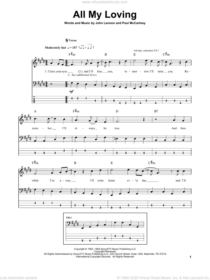 All My Loving sheet music for bass (tablature) (bass guitar) by Paul McCartney
