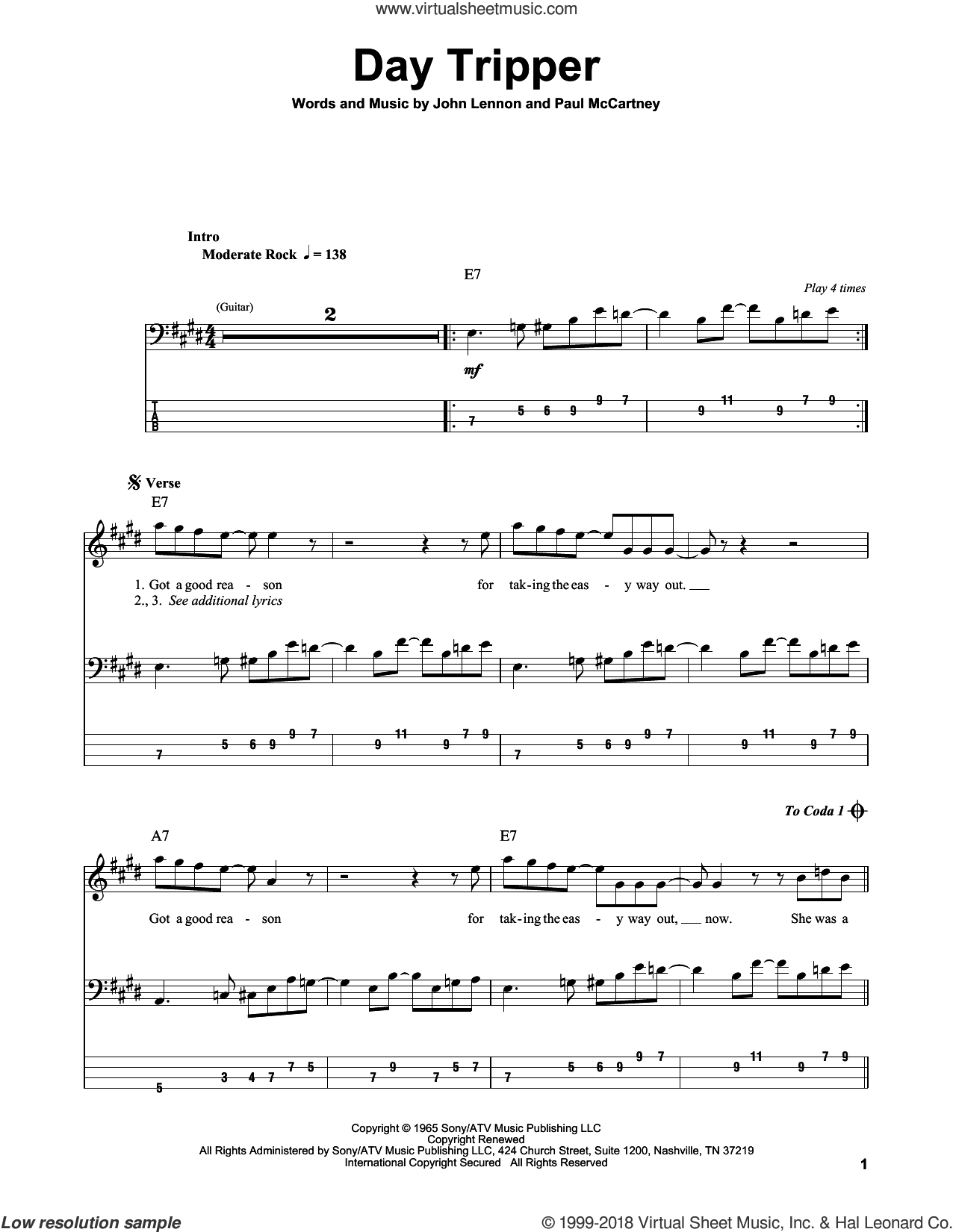 Day Tripper sheet music for bass (tablature) (bass guitar) by The Beatles, John Lennon and Paul McCartney, intermediate