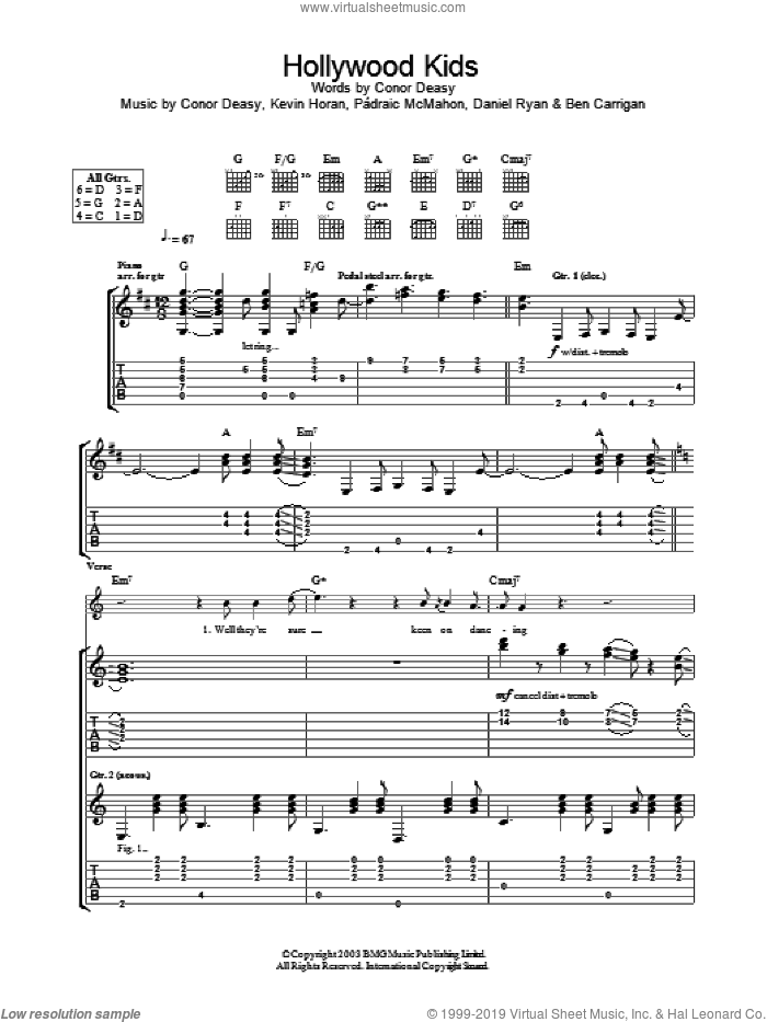 Hollywood Kids sheet music for guitar (tablature) by The Thrills, intermediate