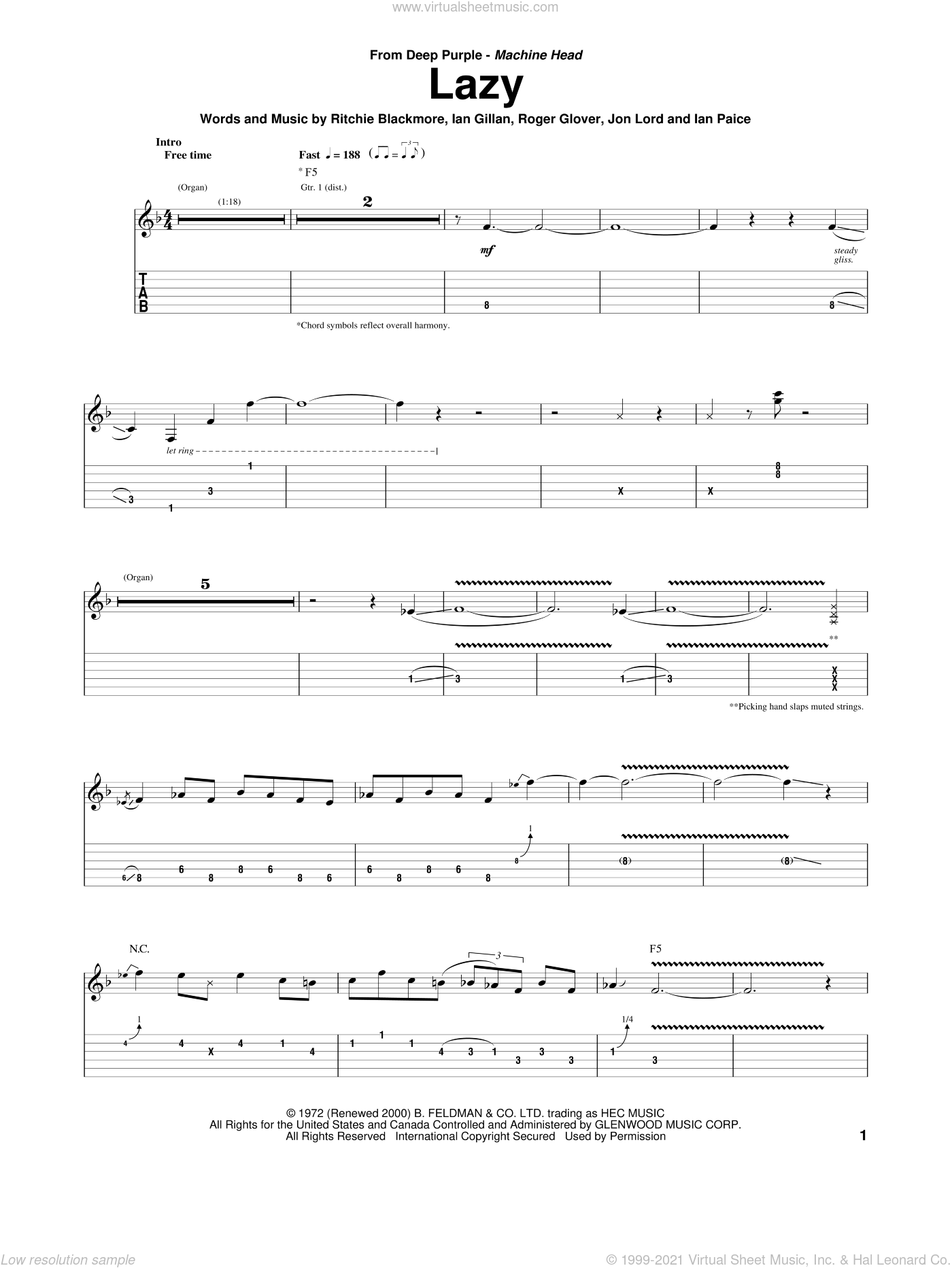 Lazy sheet music for guitar (tablature) by Deep Purple, Ian Gillan, Ian Paice, Jon Lord, Ritchie Blackmore and Roger Glover, intermediate skill level