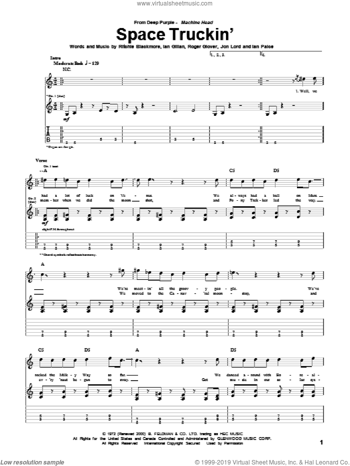 Space Truckin' sheet music for guitar (tablature) by Deep Purple. Score Image Preview.