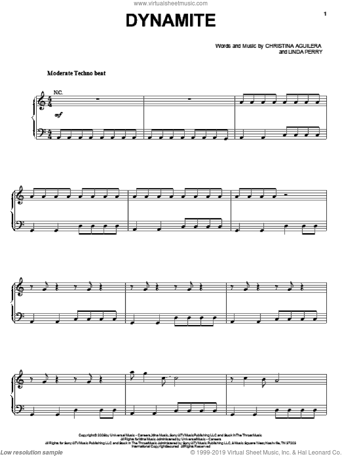 Dynamite sheet music for voice, piano or guitar by Linda Perry and Christina Aguilera. Score Image Preview.