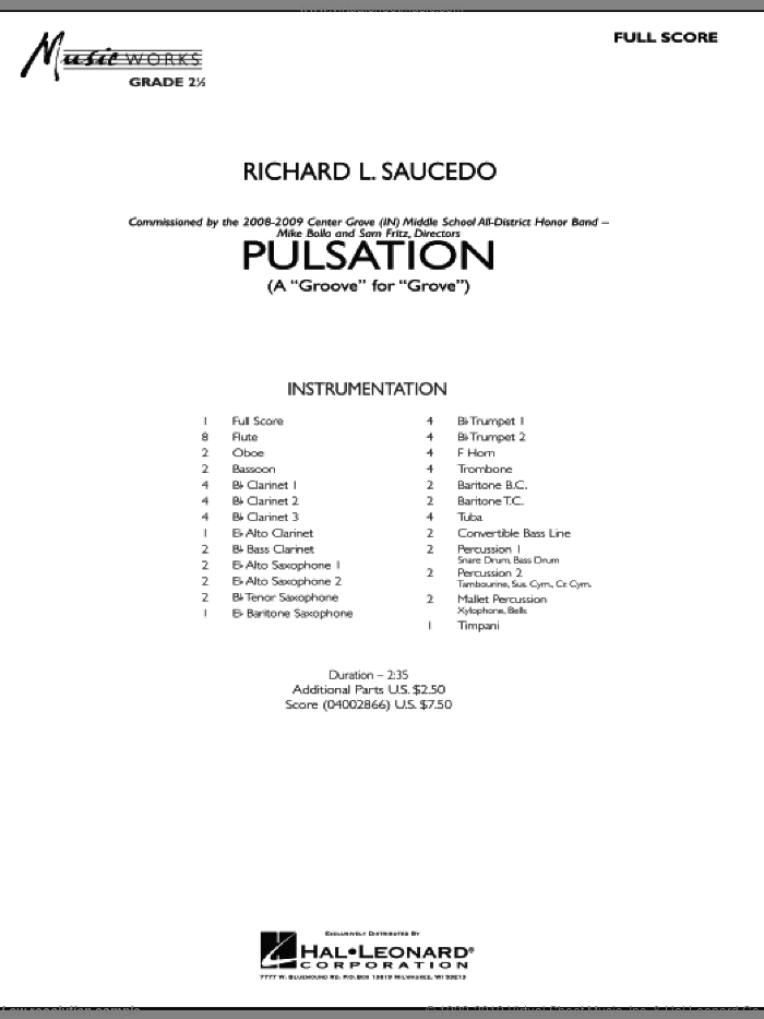 Pulsation sheet music for concert band (full score) by Richard L. Saucedo