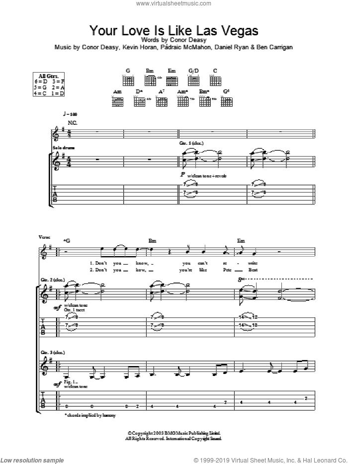 Your Love Is Like Las Vegas sheet music for guitar (tablature) by The Thrills. Score Image Preview.