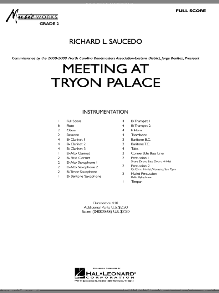 Meeting at Tryon Palace sheet music for concert band (full score) by Richard L. Saucedo