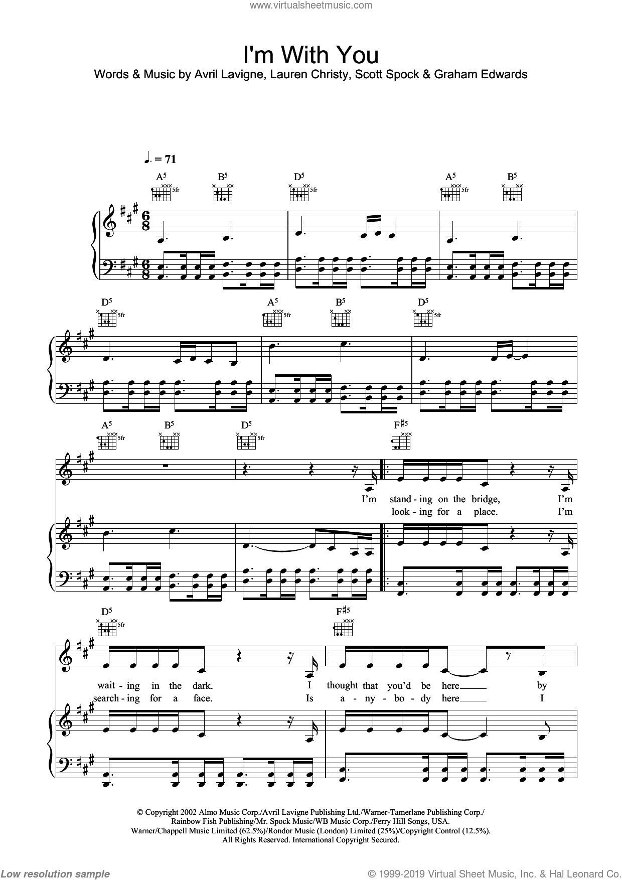 I'm With You sheet music for voice, piano or guitar by Avril Lavigne, Graham Edwards, Lauren Christy and Scott Spock, intermediate skill level