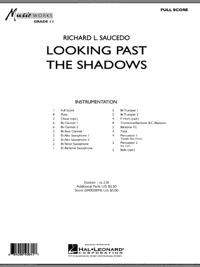 Looking Past the Shadows (COMPLETE) sheet music for concert band by Richard L. Saucedo, intermediate skill level