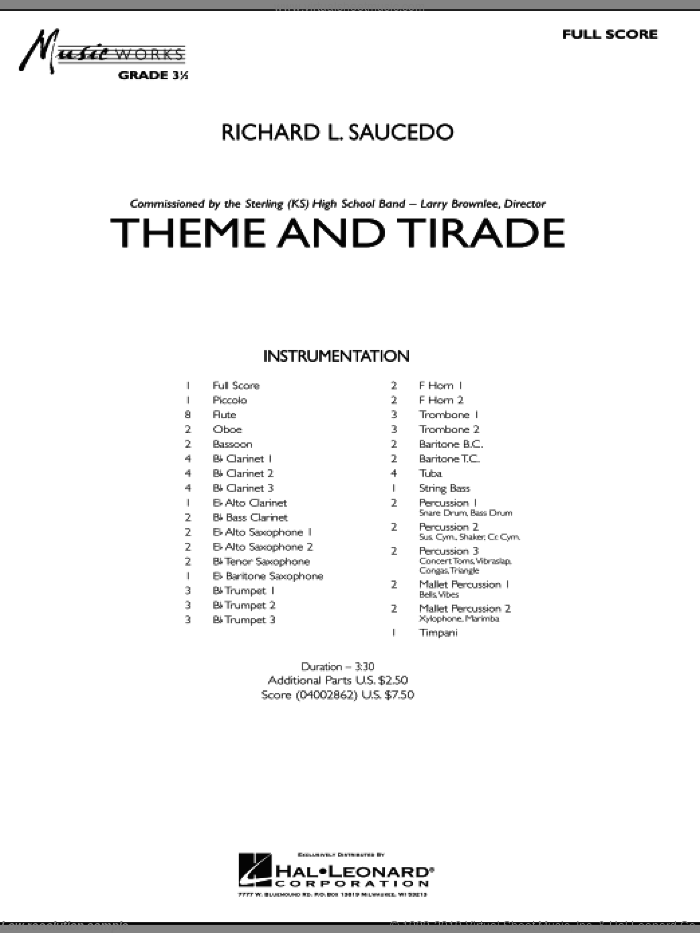 Theme and Tirade sheet music for concert band (full score) by Richard L. Saucedo