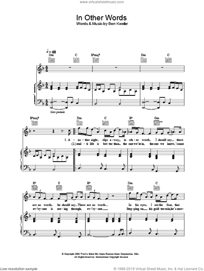 In Other Words sheet music for voice, piano or guitar by Ben Kweller