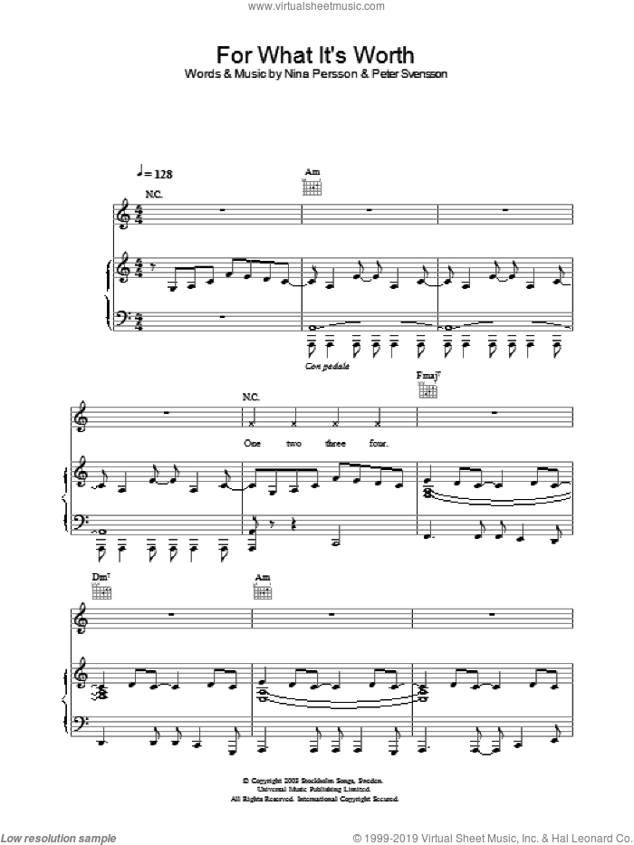For What It's Worth sheet music for voice, piano or guitar by The Cardigans, intermediate skill level