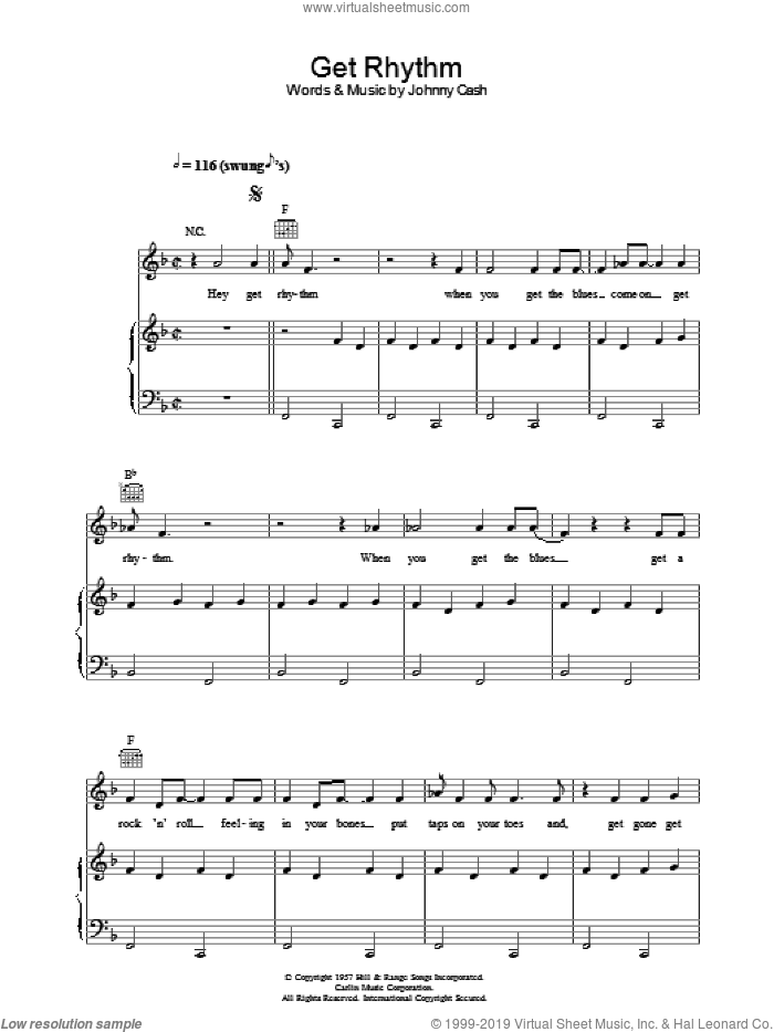 Get Rhythm sheet music for voice, piano or guitar by Johnny Cash. Score Image Preview.