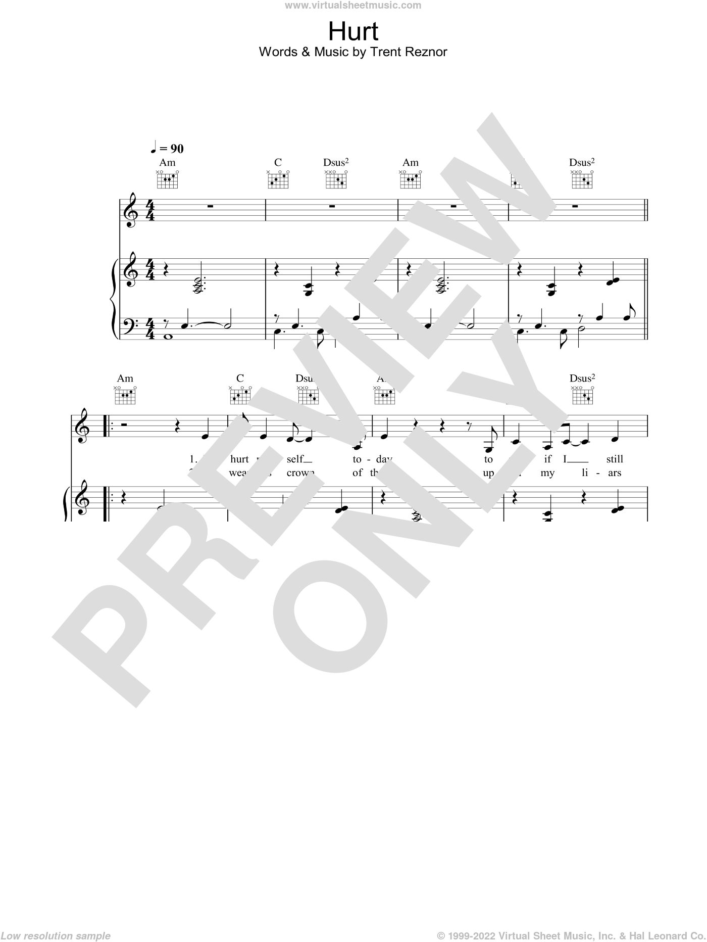 Hurt sheet music for voice, piano or guitar by Johnny Cash, Nine Inch Nails and Trent Reznor, intermediate skill level