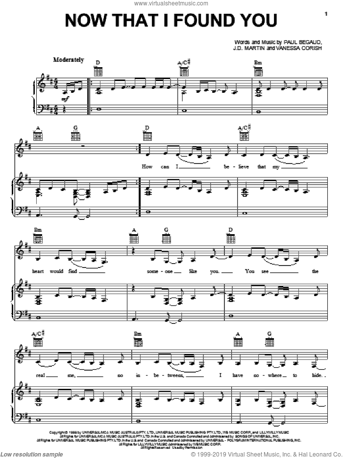 Now That I Found You sheet music for voice, piano or guitar by Vanessa Corish