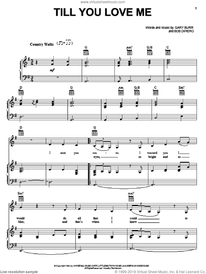 Till You Love Me sheet music for voice, piano or guitar by Reba McEntire, Bob DiPiero and Gary Burr, intermediate voice, piano or guitar. Score Image Preview.