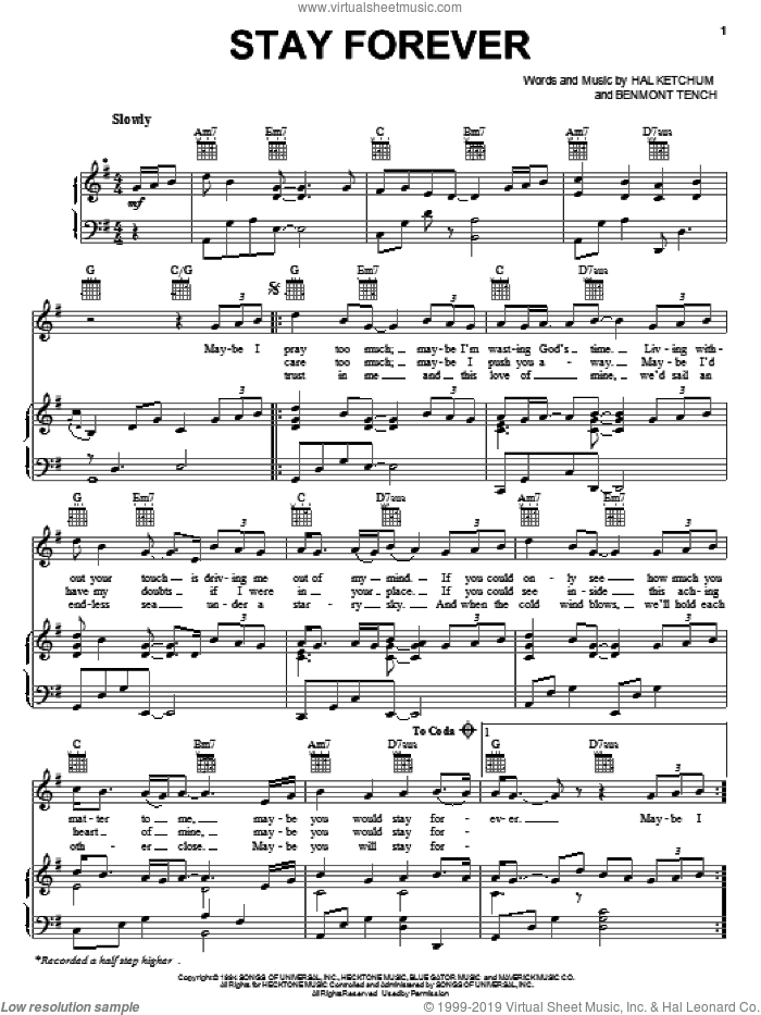 Stay Forever sheet music for voice, piano or guitar by Hal Ketchum, intermediate voice, piano or guitar. Score Image Preview.