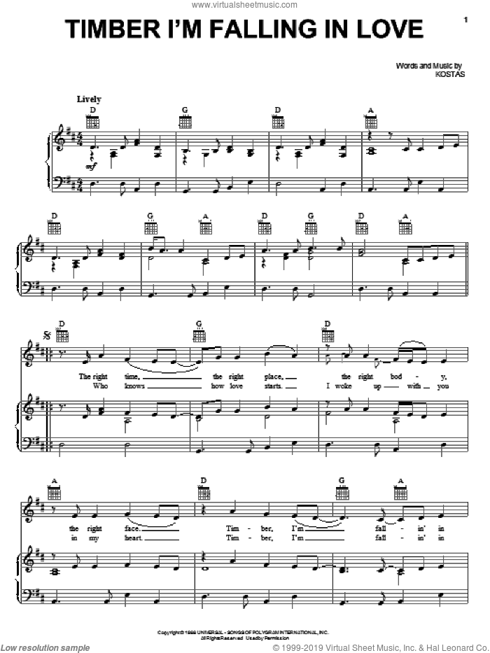 Timber I'm Falling In Love sheet music for voice, piano or guitar by Kostas and Patty Loveless. Score Image Preview.