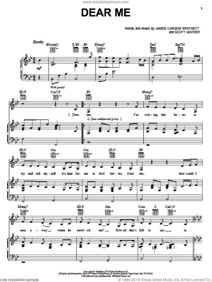 Dear Me sheet music for voice, piano or guitar by Lorrie Morgan, James Carson Whitsett and Scott Mateer, intermediate skill level