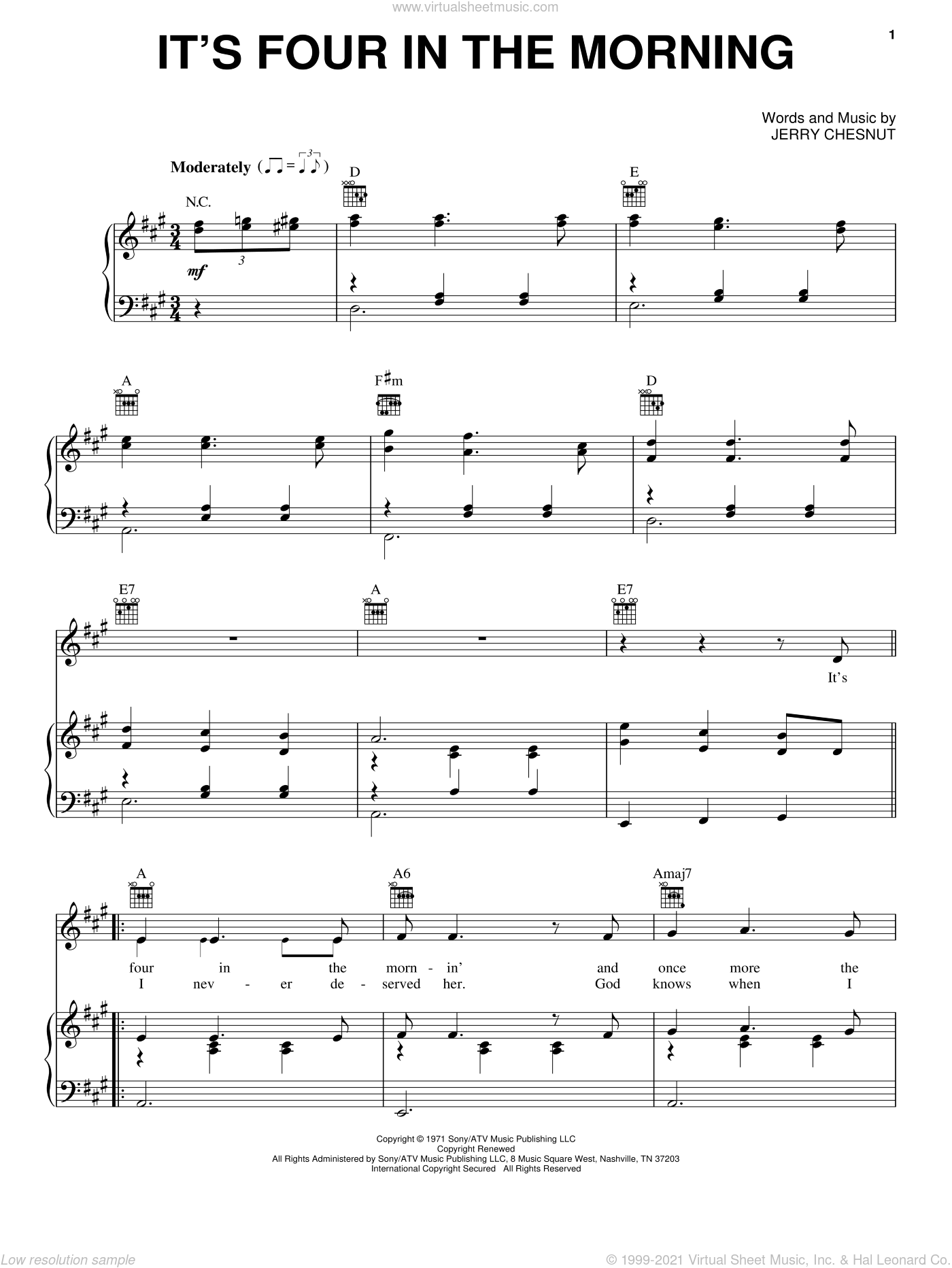 It's Four In The Morning sheet music for voice, piano or guitar by Jerry Chesnut and Faron Young. Score Image Preview.