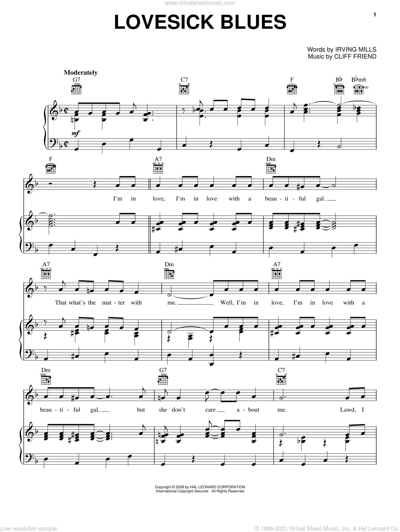 Lovesick Blues sheet music for voice, piano or guitar by Hank Williams, LeAnn Rimes, Patsy Cline, Cliff Friend and Irving Mills, intermediate voice, piano or guitar. Score Image Preview.