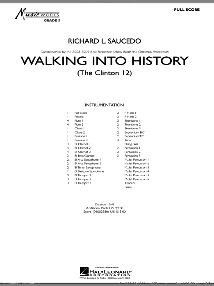 Walking into History (The Clinton 12) sheet music for concert band (full score) by Richard L. Saucedo