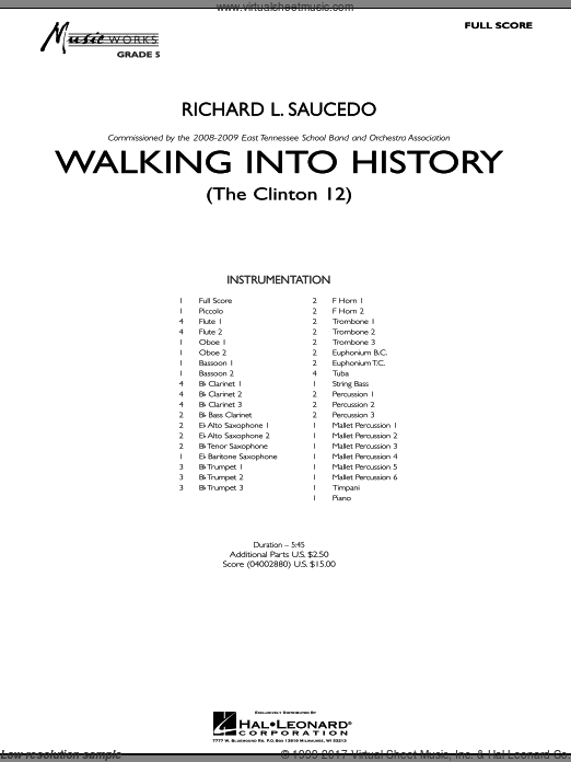 Walking into History (The Clinton 12) (COMPLETE) sheet music for concert band by Richard L. Saucedo