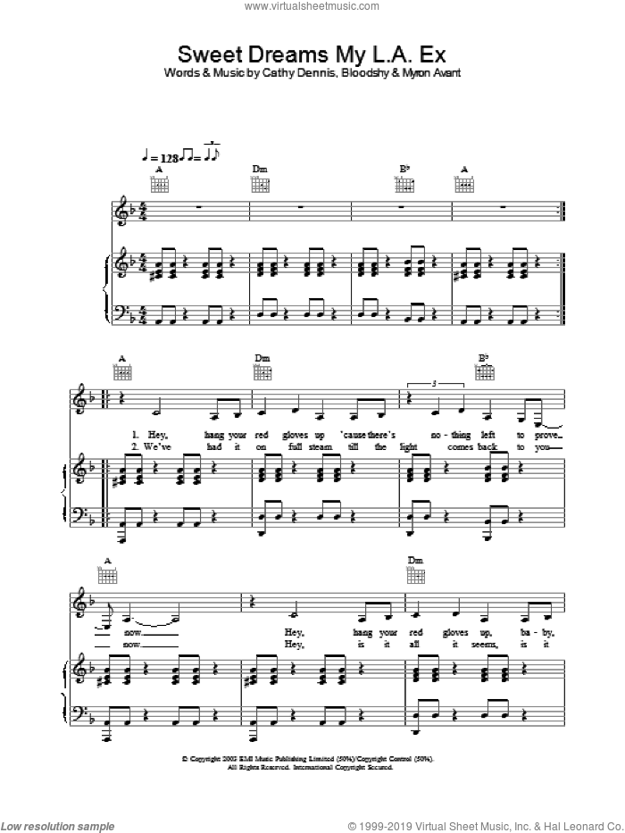 Sweet Dreams My L.A. Ex sheet music for voice, piano or guitar by Rachel Stevens. Score Image Preview.
