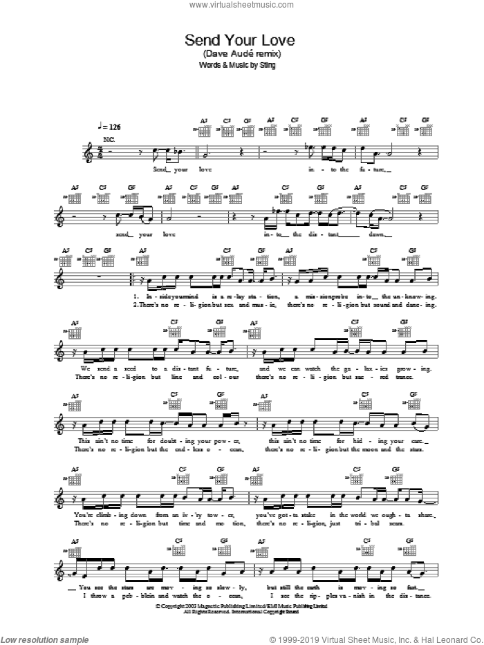 Send Your Love (Dave AudE remix) sheet music for voice and other instruments (fake book) by Sting. Score Image Preview.