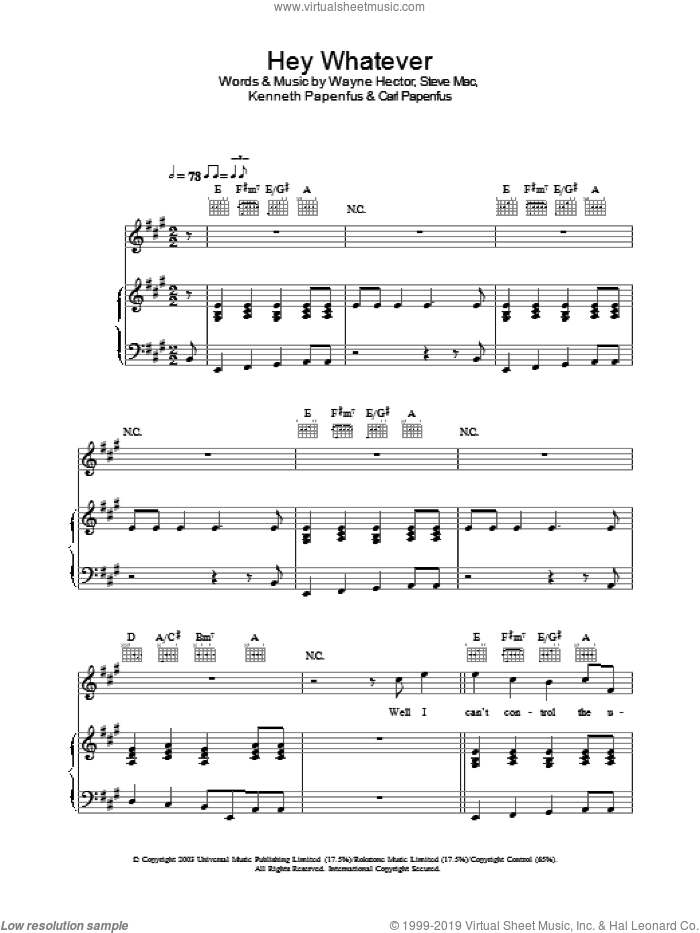 Hey Whatever sheet music for voice, piano or guitar by Westlife