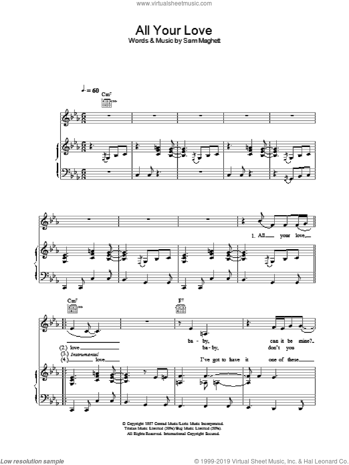 All Your Love sheet music for voice, piano or guitar by Peter Malick