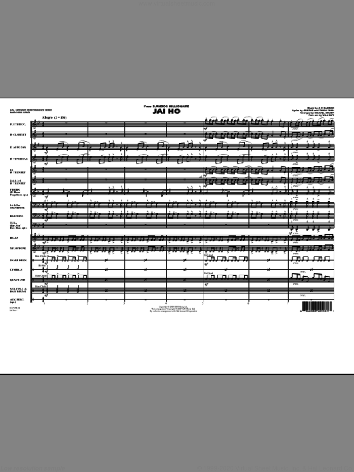 Jai Ho (from 'Slumdog Millionaire') (COMPLETE) sheet music for marching band by A.R. Rahman, Gulzar, Michael Brown and Will Rapp, intermediate skill level