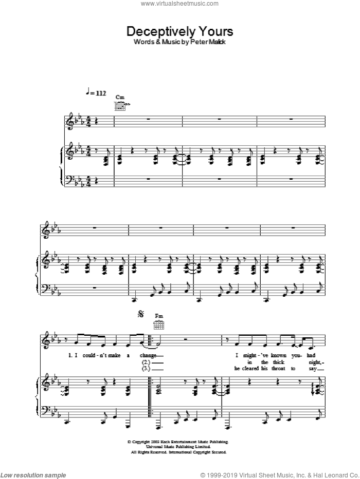 Deceptively Yours sheet music for voice, piano or guitar by Peter Malick and Norah Jones. Score Image Preview.