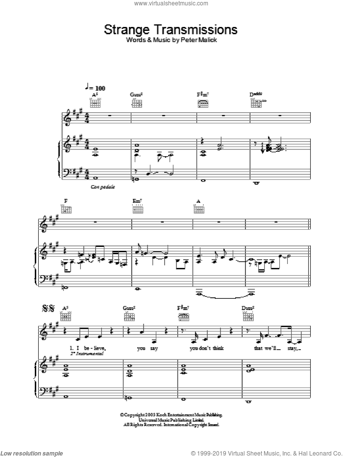 Strange Transmissions sheet music for voice, piano or guitar by Peter Malick