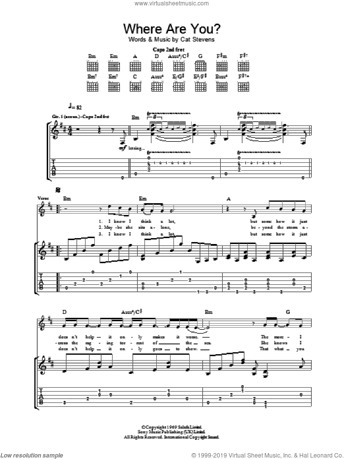 Where Are You? sheet music for guitar (tablature) by Cat Stevens. Score Image Preview.