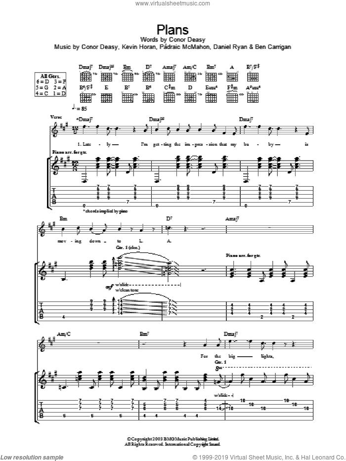 Plans sheet music for guitar (tablature) by The Thrills