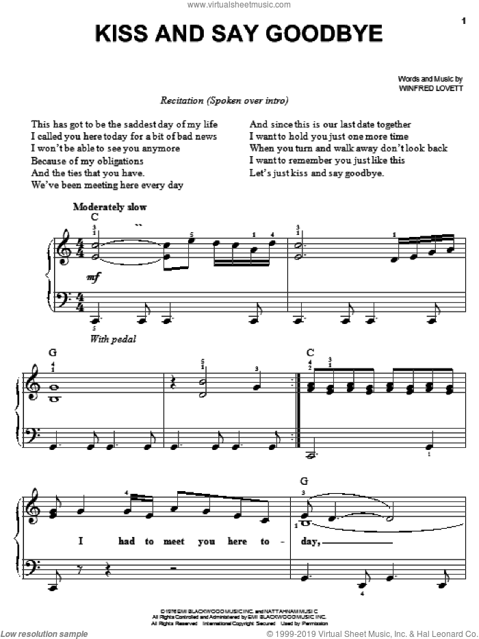 Kiss And Say Goodbye sheet music for piano solo by The Manhattans and Winfred Lovett, easy skill level