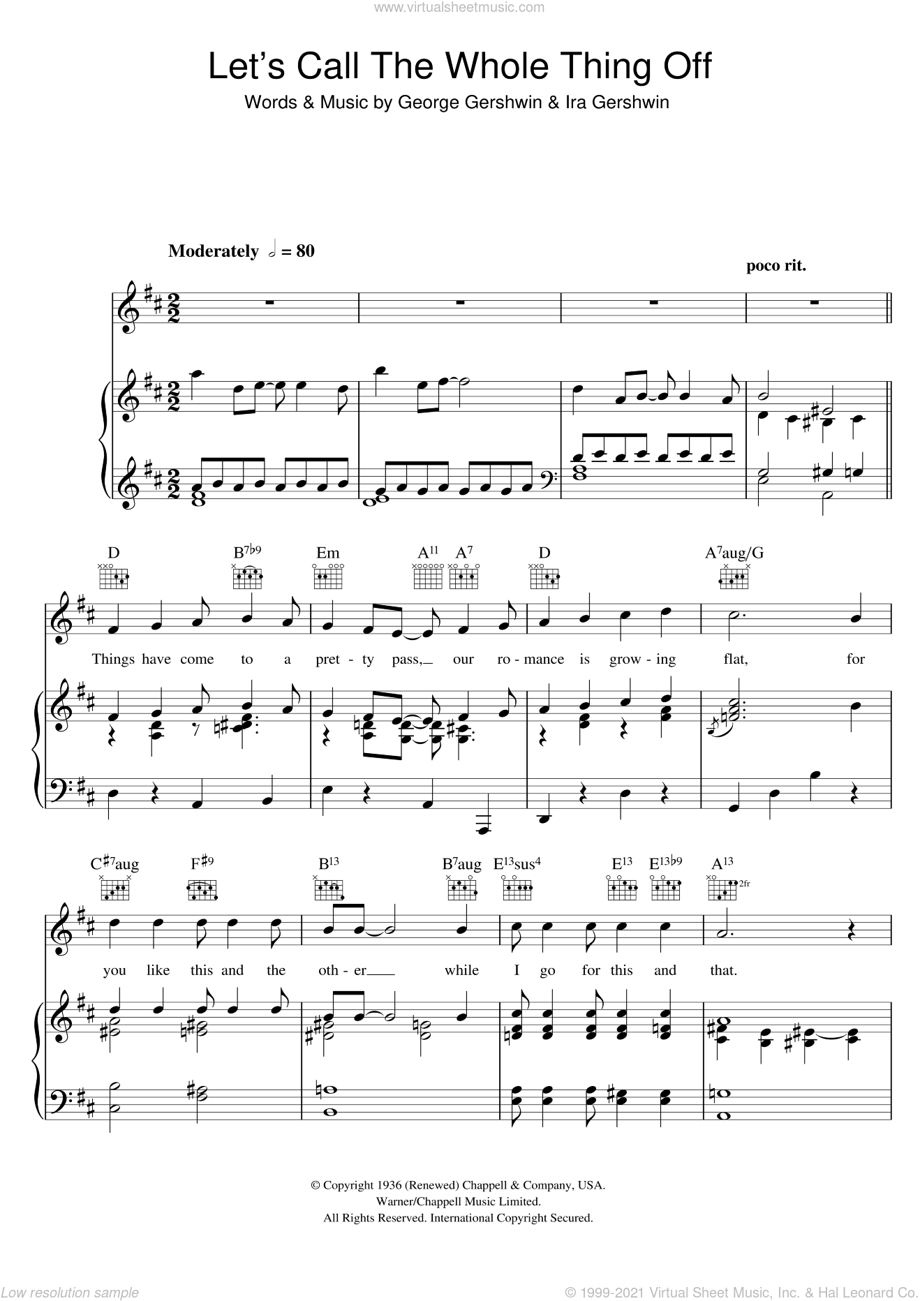 Let's Call The Whole Thing Off sheet music for voice, piano or guitar by George Gershwin and Ira Gershwin, intermediate