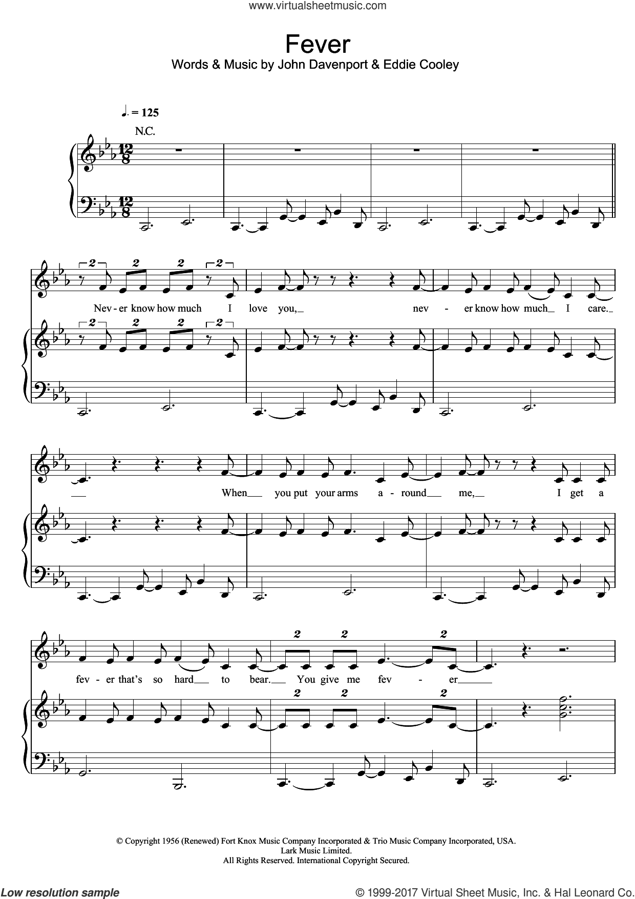 Fever sheet music for voice, piano or guitar by Peggy Lee, Michael Buble, Eddie Cooley and John Davenport, intermediate skill level