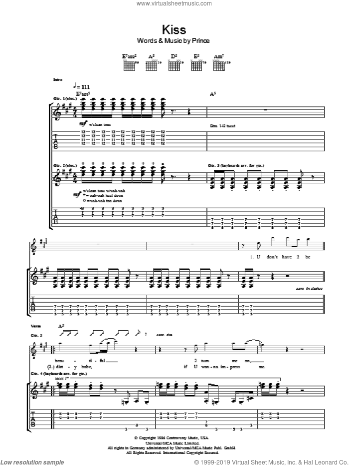 Kiss sheet music for guitar (tablature) by Prince and Prince & The Revolution. Score Image Preview.