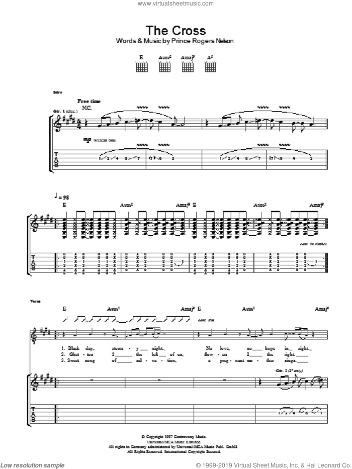 The Cross sheet music for guitar (tablature) by Prince. Score Image Preview.
