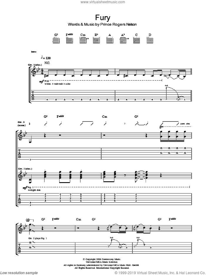 Fury sheet music for guitar (tablature) by Prince and Prince Rogers Nelson, intermediate skill level