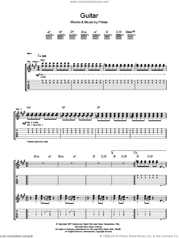 Guitar sheet music for guitar (tablature) by Prince, intermediate