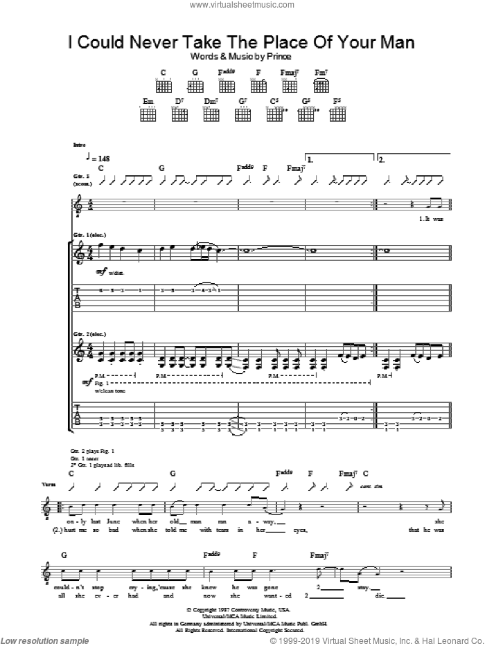 I Could Never Take The Place Of Your Man sheet music for guitar (tablature) by Prince