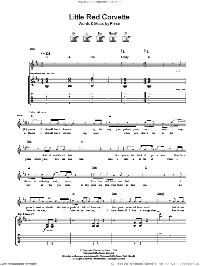 Little Red Corvette sheet music for guitar (tablature) by Prince. Score Image Preview.