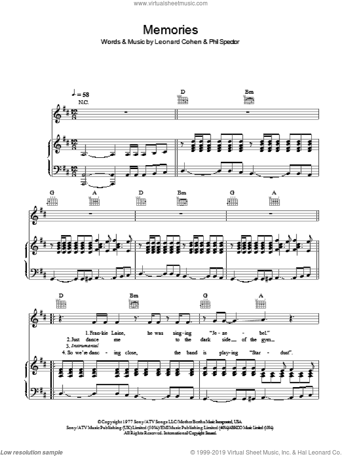 Memories sheet music for voice, piano or guitar by Phil Spector
