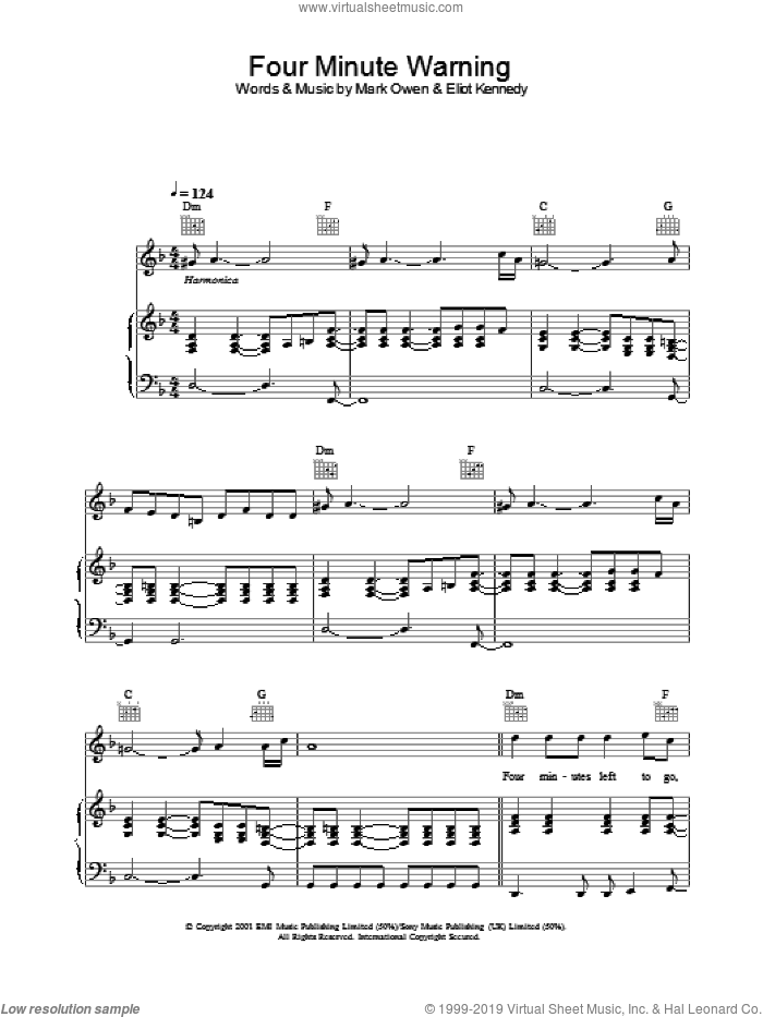 Four Minute Warning sheet music for voice, piano or guitar by Mark Owen. Score Image Preview.